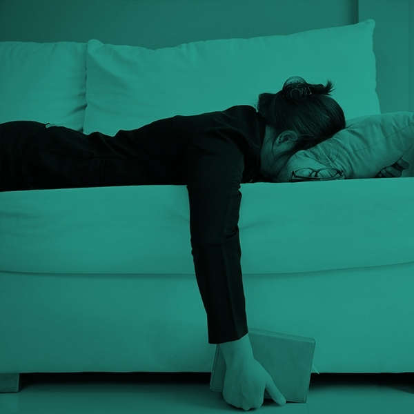 Woman exhausted and in burn out
